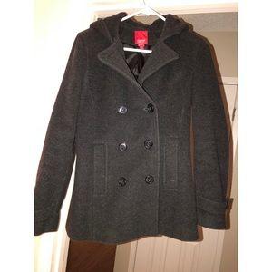 Espirit outerwear grayish black pea coat with hood